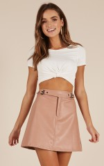 Party People skirt in blush leatherette