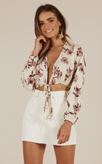 Forgetful Girl Top in cream floral