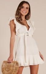 Soft Spoken dress in white linen look