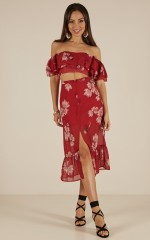 Between Spaces Two Piece Set in Red Floral