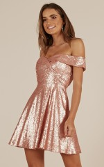 Shimmy And Shake Dress in Rose Gold Sequin