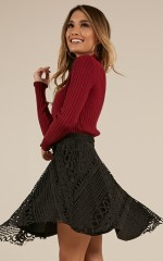 Watch This Space skirt in Black Crochet