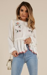Over The Rainbow top in White Embroidery
