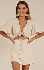Coming Home two piece set in cream linen look