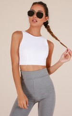 Workin It Crop Top in White