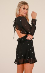 Treasured dress in black print