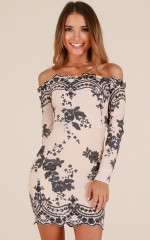Bossy Babe dress in nude lace