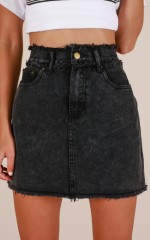 No Stopping Us denim skirt in black