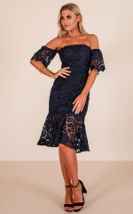 Shooting Arrows dress in navy crochet