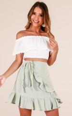 Listen Up skirt in sage linen look