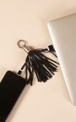 iPhone charging cable tassel in black