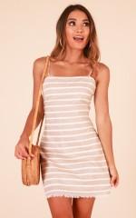 Keep Me Near dress in tan stripe