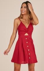 Better Judgement dress in wine linen look