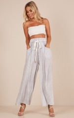 Coming To The End pants in blue stripe linen look