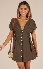 Counting On You dress in khaki linen look