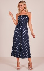 Instant Love jumpsuit in navy polkadot