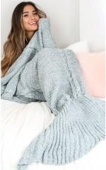 Mermaid blanket in blue marle