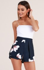 Compare The Flare shorts in navy floral