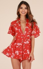 Light Hearted playsuit in red floral