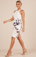 Claim It Back skirt in white print