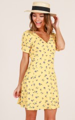 Casual Party dress in yellow floral