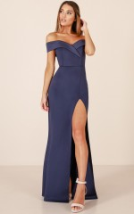 One For The Money dress in steel blue