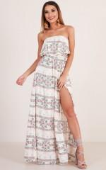 Bad At Love maxi dress in beige print