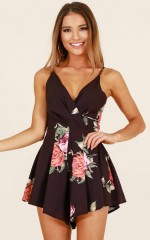 Want Or Need playsuit in black floral