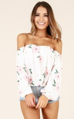 After Sundown top in white floral