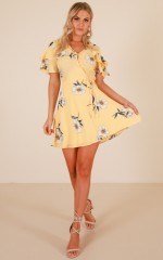 Alone Time dress in yellow floral