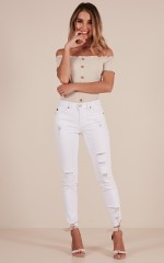 Charlene skinny jeans in white denim