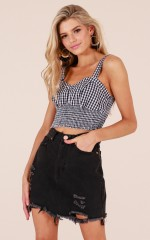 Be Faithful crop top in black gingham