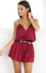 Clap Your Hands playsuit in wine