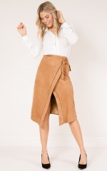 Tall Heights skirt in tan suedette