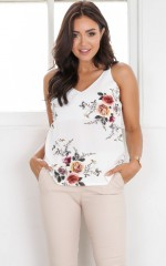 Float top in white floral