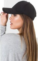 Half Time cap in black suedette