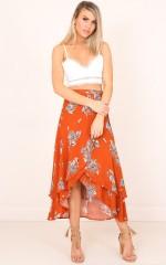 Nicoletta skirt in rust floral