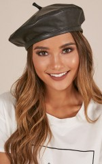Better With Time beret in black leatherette