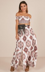 First In Line two piece set in white paisley print