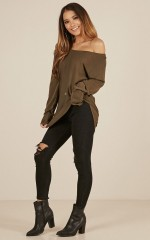 Be My Girl knit top in khaki