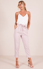 I Belong With You pants in blush stripe