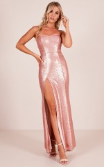 Shimmer Shimmer Maxi Dress in Rose Gold Sequin