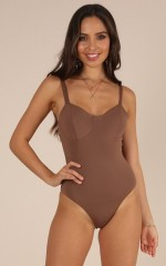 Owning It bodysuit in mocha