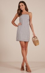 So Lovable dress in white stripe