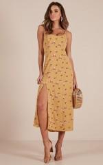 Summer Chic dress in mustard floral