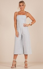 Shine The Light jumpsuit in grey stripe linen look
