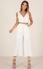 Paradise With You jumpsuit in white linen look
