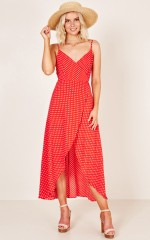 The Countess dress in red print
