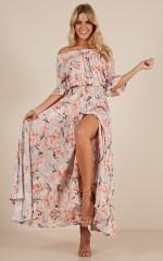 Leah maxi dress in peach floral