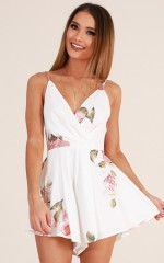 Want Or Need playsuit in white floral
